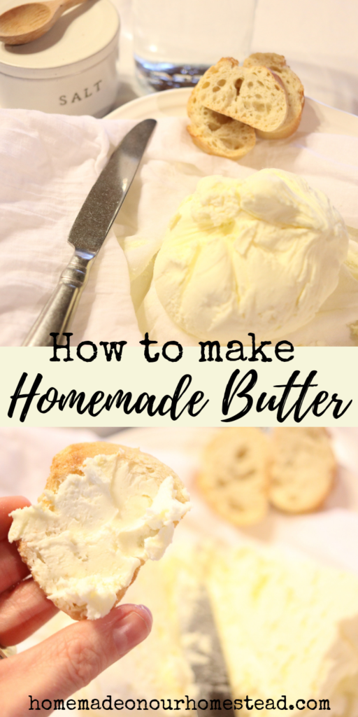 how to make homemade butter. Make your own butter at home. Quick and easy way to make butter. #homemadeonourhomestead #foodfromscratch #howtomakehomemadebutter #quickandeasywaytomakebutter #foolproofwaytomakebutter #ilovebutter #DIYbutter #butterfromscratch #learnhowtomakebutter