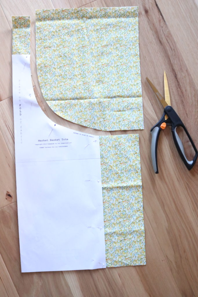 homemade on our homestead. How to sew a tote bag. Market basket tote. Easy sewing project.