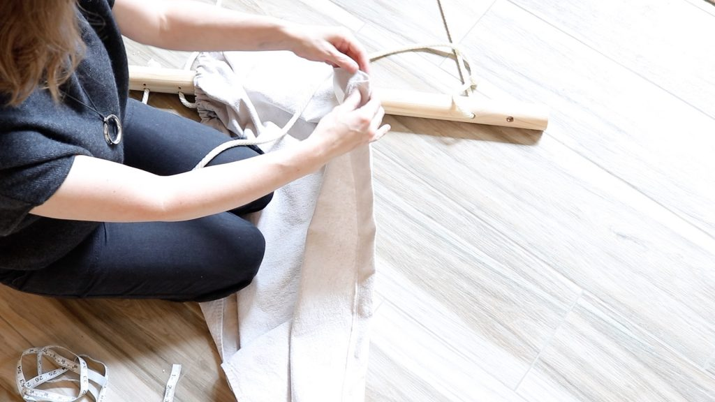 how to make a hanging chair from a drop cloth | DIY hanging chair | Easy sensory swing