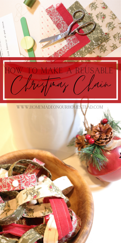 HOW TO MAKE A CHRISTMAS COUNTDOWN CHAIN | REUSABLE ADVENT CHAIN | HOMEMADE ON OUR HOMESTEAD #howtomakeachristmascountdownchain #reusableadventchain #countdowncalendarforkids #Adventcalendaridea #christmaschain #reusablechristmaschain #fabricadventchain #reusableadventcountdownchain #freechristmassewingpattern #easyadvetnchainproject
