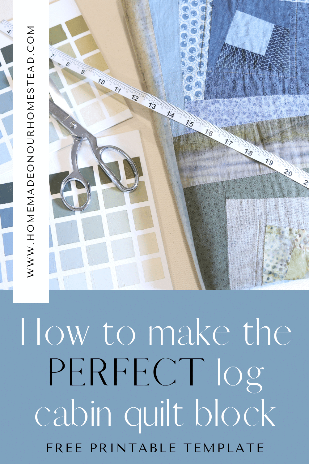 pinterest image graphic for how to make a perfect log cabin quilt block